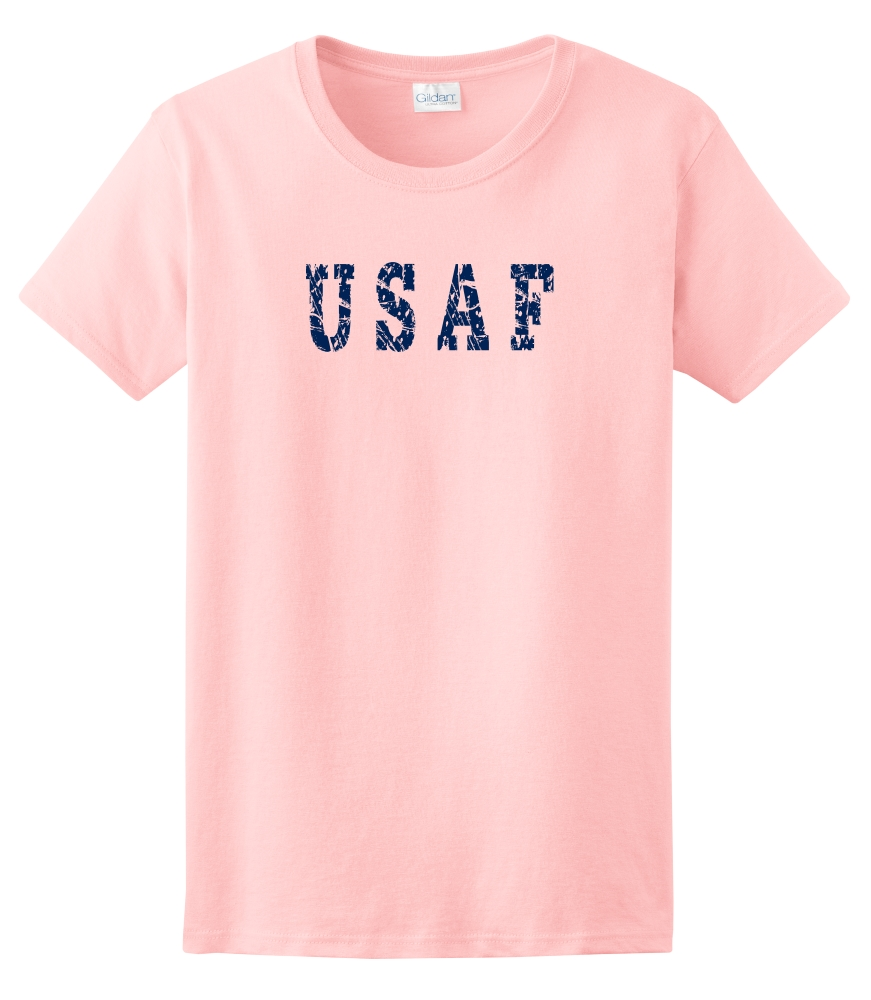 Printed distressed style usaf ladies t shirt for Custom t shirts distressed